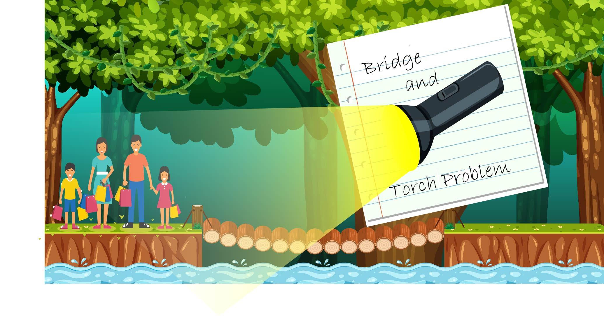 Four people on a rickety bridge